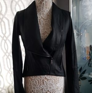 BCBGeneration Tuxedo style Hi/Low Leather Jacket!